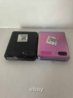 2x Lot Samsung Galaxy Z Flip SM-F700F/DS 256GB Mirror Black (AT&T) Bad LCD 1A