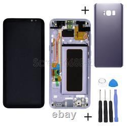 For Samsung Galaxy S8 G950F LCD Display Touch screen Komplett+Rahmen+cover lila