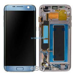 Für Samsung Galaxy S7 Edge G935F LCD Display Touch Screen Bildschirm+Rahmen Blau